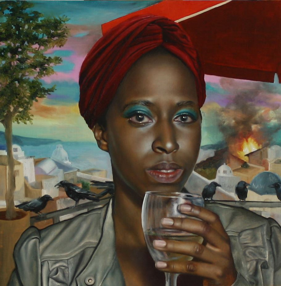 Hyper realistic painting of a woman wearing a turban and holding glass of water while facing the vie