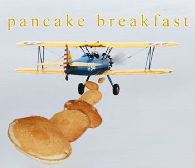 Graphic art of vintage crop duster aircraft dropping pancakes from its fuselage