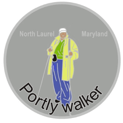 Logo for Portly Walker of a drawn person using walkers surrounded by a grey circle background