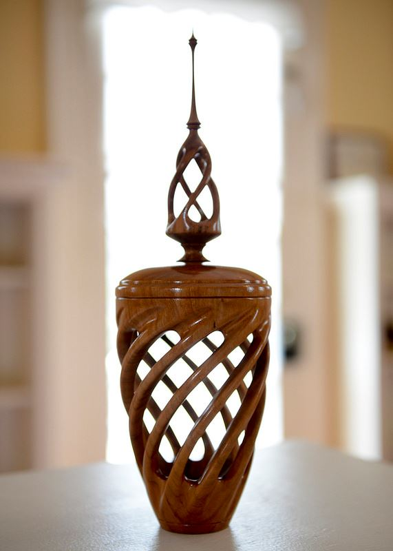 Wooden Vase with detailed openwork