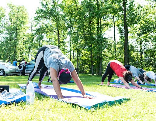 a group doing yoga in the park