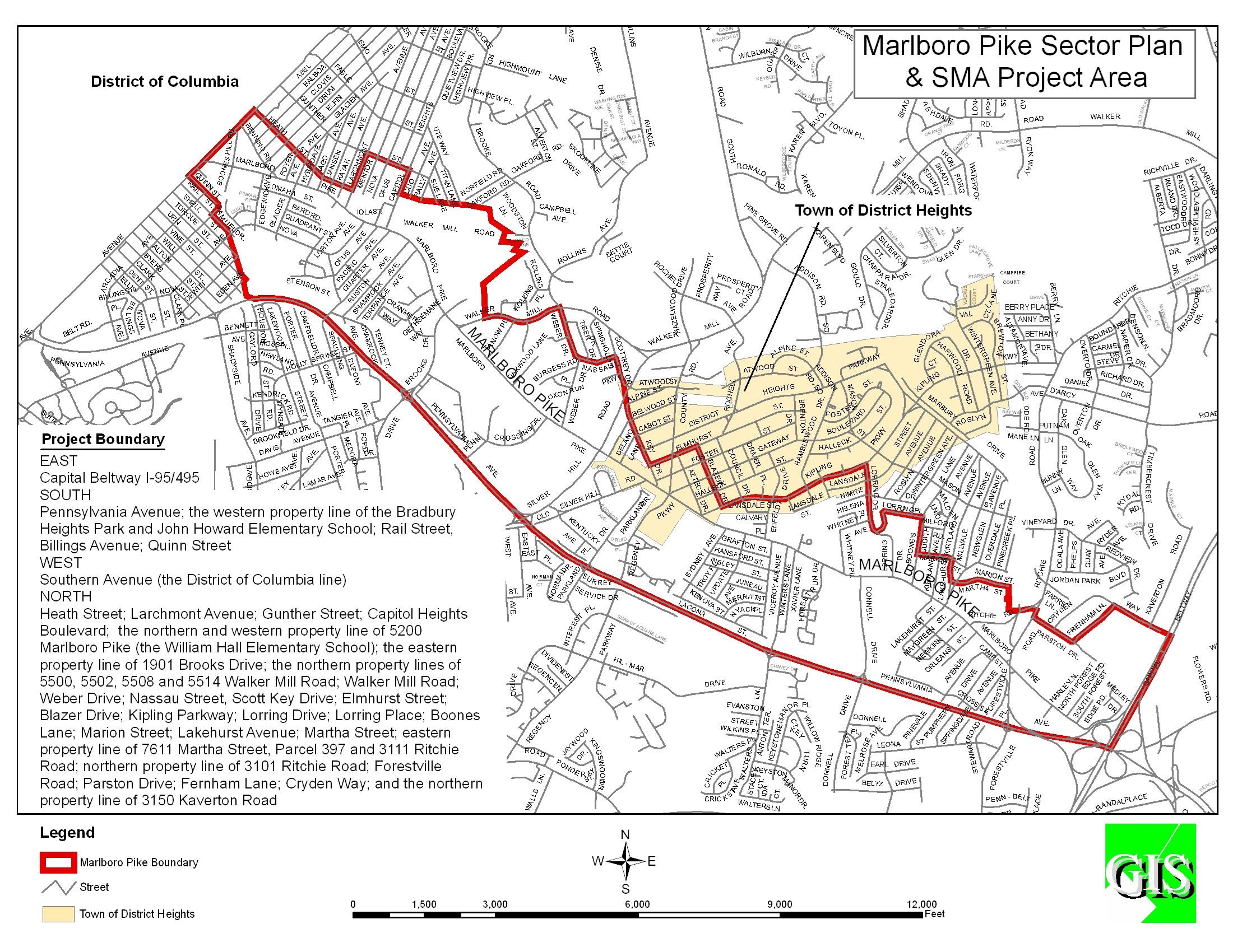 Marloboro Pike Sector Plan and SMA Project Area Map