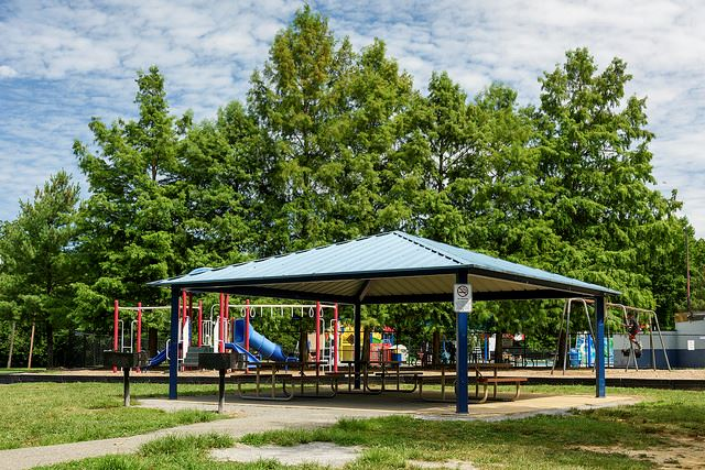 The covered pavilion park shelter at north barnaby splash park
