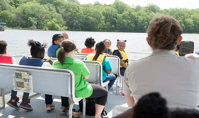Kids on a boat tour of Patuxent River